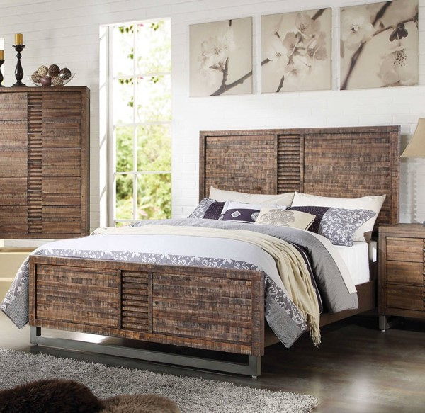 HomeRoots Reclaimed Oak Acacia Wood Queen Bed OCN-285868