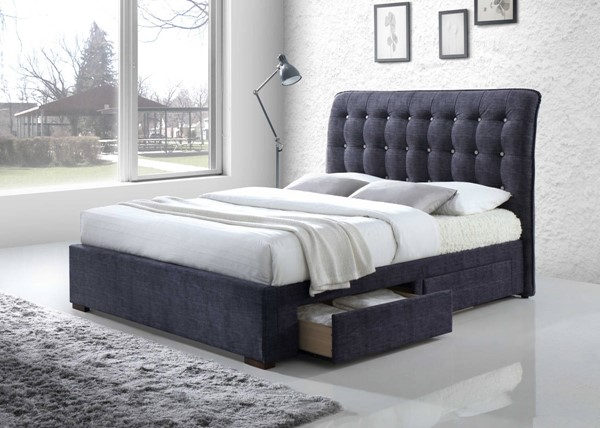 HomeRoots Dark Gray Fabric King Storage Bed OCN-285890