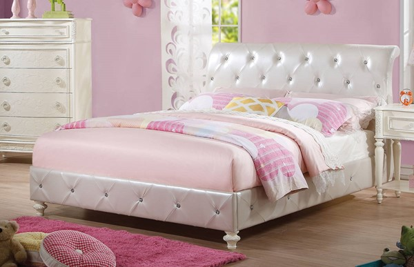 HomeRoots Pearl White PU Padded Beds OCN-285908-BED-VAR