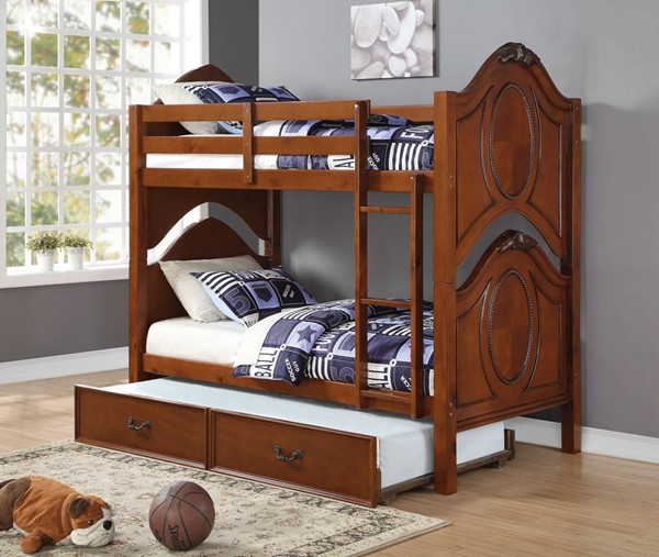HomeRoots Cherry Pine Wood Twin over Twin Trundle Bunk Bed OCN-285920-TR-BED