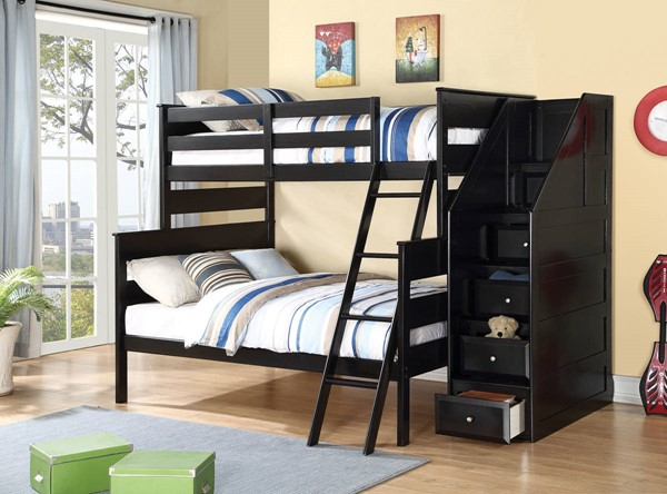 HomeRoots Black Pine Wood Storage Ladder Twin over Full Bunk Bed OCN-285925