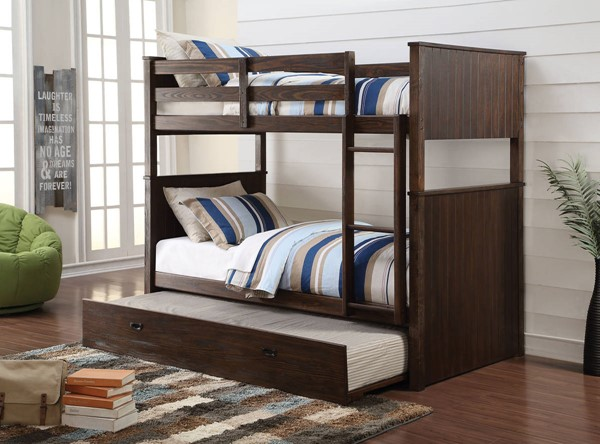 HomeRoots Antique Charcoal Brown Pine Wood Twin over Twin Trundle Bunk Bed OCN-285931-TR-BED