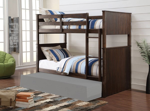 HomeRoots Antique Charcoal Brown Pine Wood Twin over Twin Bunk Bed OCN-285931