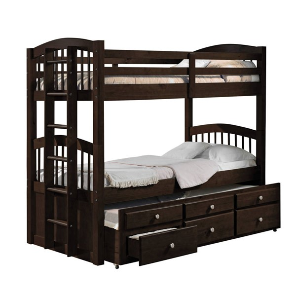HomeRoots Espresso Wood Trundle 3 Drawer Twin over Twin Bunk Bed OCN-285935