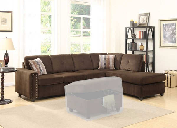 Homeroots Chocolate Velvet Sectionals with Reversible Pillows OCN-285950-SEC-VAR