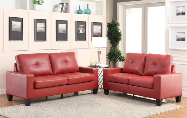 HomeRoots Red PU Platinum Sofa and Loveseat Set OCN-285959