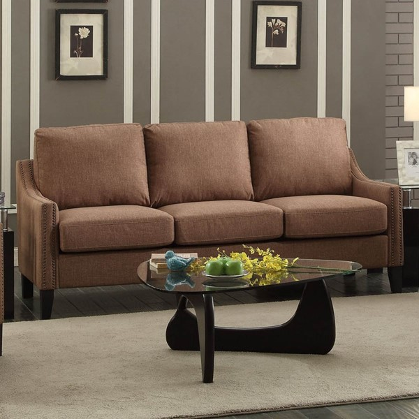 HomeRoots Zapata Brown Fabric Sofa OCN-285963