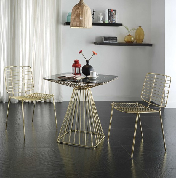 2 Ocean Tailer Gold Side Chairs OCN-286000