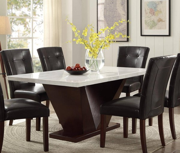Homeroots White Marble Top Walnut Dining Table OCN-286018