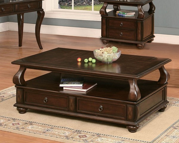 HomeRoots Amado Walnut 2 Drawers Coffee Table OCN-286032