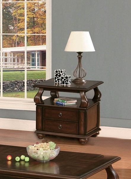 HomeRoots Amado Walnut 2 Drawers End Table OCN-286033