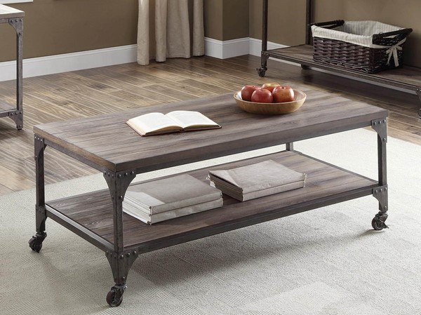 HomeRoots Gorden Weathered Oak Antique Silver Coffee Table OCN-286047