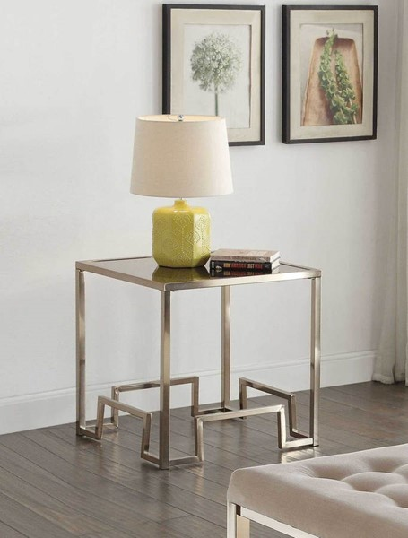 HomeRoots Damien Champagne End Table OCN-286056