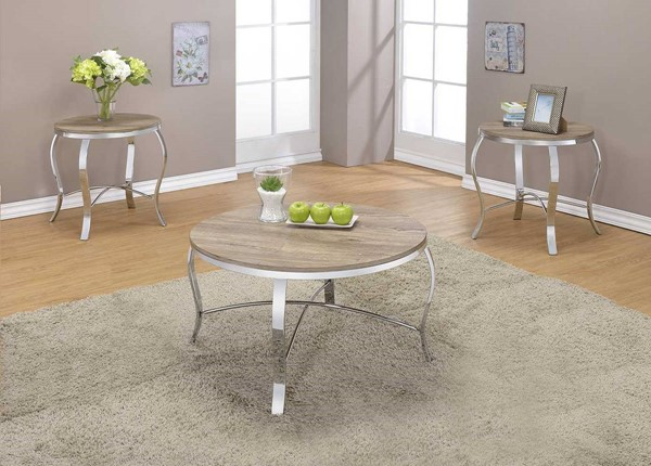 Homeroots Weathered Light Oak Chrome Legs 3pc Coffee Table Set OCN-286061