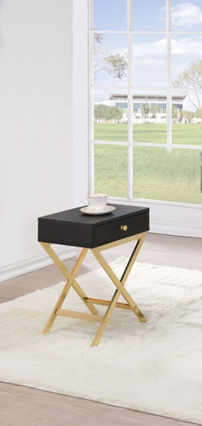 HomeRoots Coleen Black Brass Side Table OCN-286067