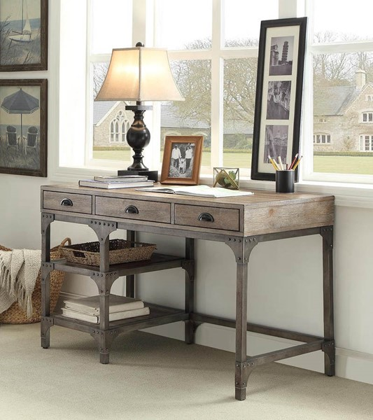 HomeRoots Gorden Weathered Oak Antique Silver Desk OCN-286083
