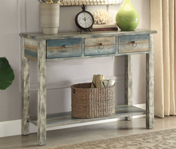 Homeroots Antique White Teal Wood Console Table OCN-286118