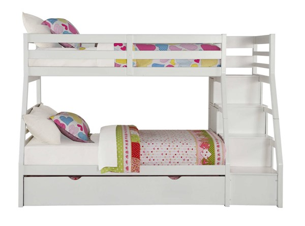 HomeRoots White Twin over Full Trundle Bunk Bed with Ladder OCN-286160