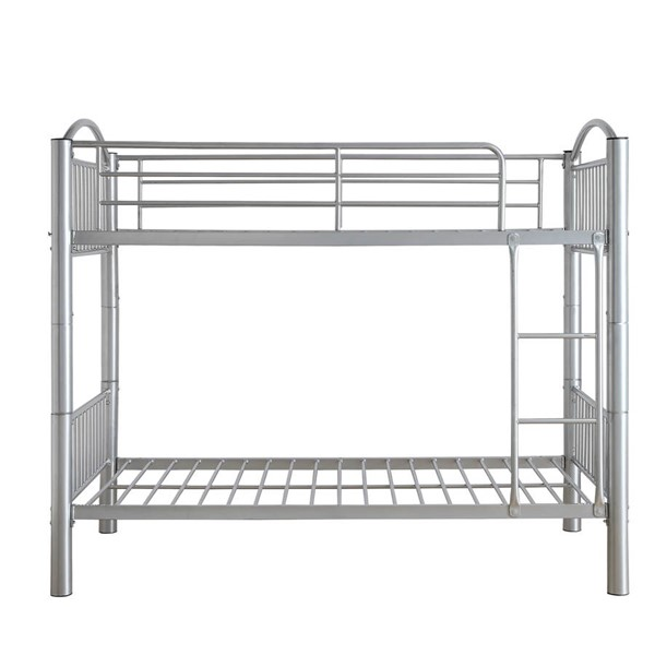 HomeRoots Cayelynn Silver Metal Full Over Full Bunk Bed OCN-286166