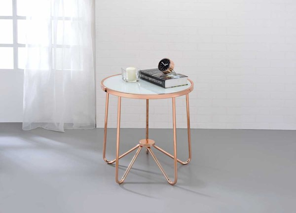 HomeRoots Alivia Frosted Glass Rose Gold End Table OCN-286261