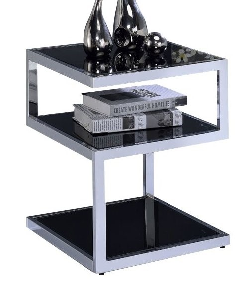 Homeroots Black Glass Top Chrome Metal End Table OCN-286266