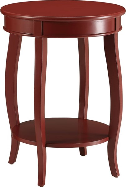 Homeroots Red Solid Wood Leg Side Table OCN-286289