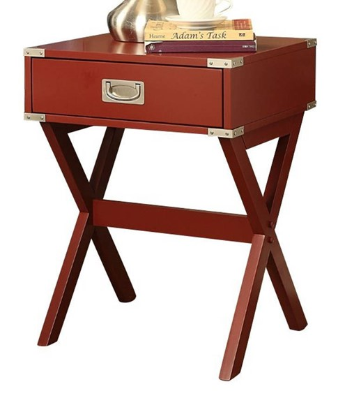 Homeroots Red Solid Wood Leg End Table OCN-286306