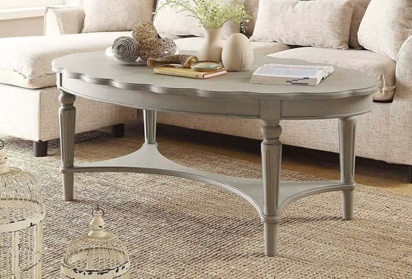 HomeRoots Fordon Antique White Solid Wood Coffee Table OCN-286349