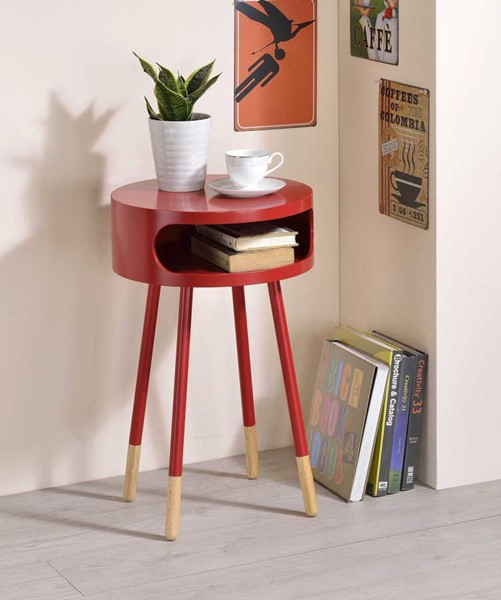 HomeRoots Sonria Red Natural End Table OCN-286361