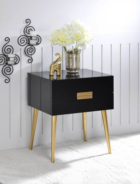Homeroots White Wood Gold Metal End Table OCN-286384