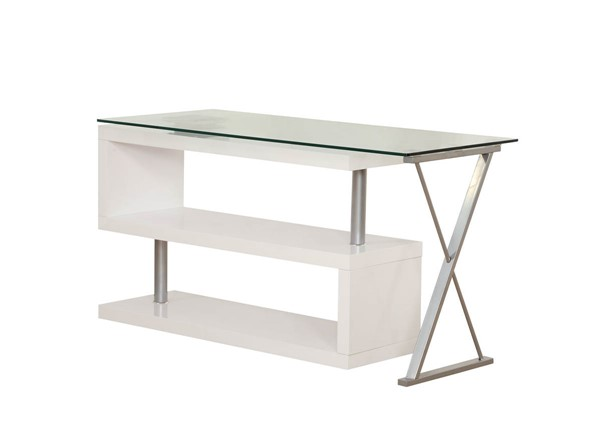 HomeRoots Buck White Veneer Office Desk OCN-286409