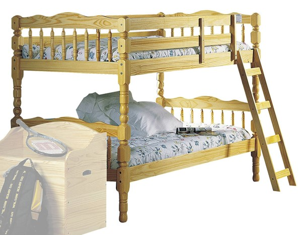 HomeRoots Natural Pine Wood Twin over Twin Bunk Bed OCN-286530