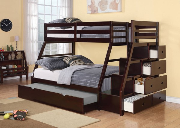 HomeRoots Espresso Pine Wood Twin over Full Trundle Bunk Bed with Storage Ladder OCN-286561