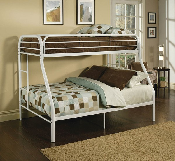 HomeRoots Tritan White Twin Over Full Bunk Bed OCN-286579