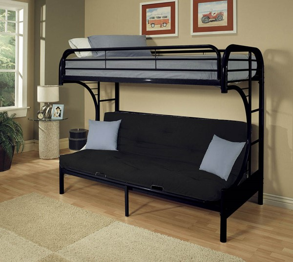 HomeRoots Eclipse Black Twin Over Full Futon Bunk Bed OCN-286584
