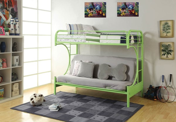 HomeRoots Eclipse Green Twin Over Full Futon Bunk Bed OCN-286585