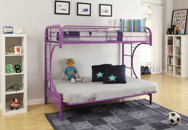 HomeRoots Eclipse Purple Twin Over Full Futon Bunk Bed OCN-286587