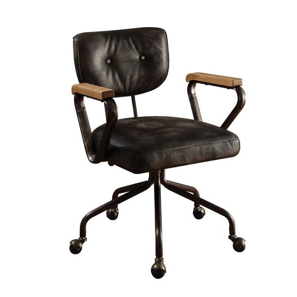 Home Roots Hallie Black Leather Office Chair OCN-286611