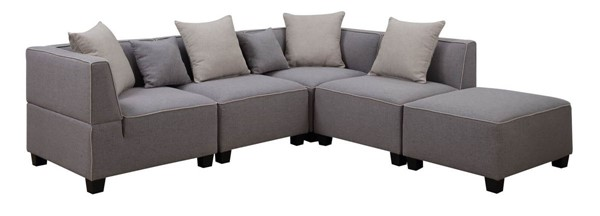 Home Roots Gray Holly Modern 5pc L Shaped Sectional OCN-289346