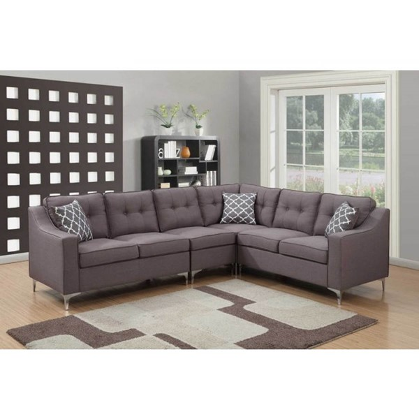 Home Roots Grey L Shaped 4pc Sectional OCN-289347