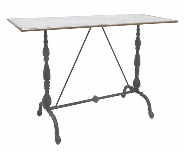 Homeroots White Rustic Top Black Metal Console Table OCN-291437