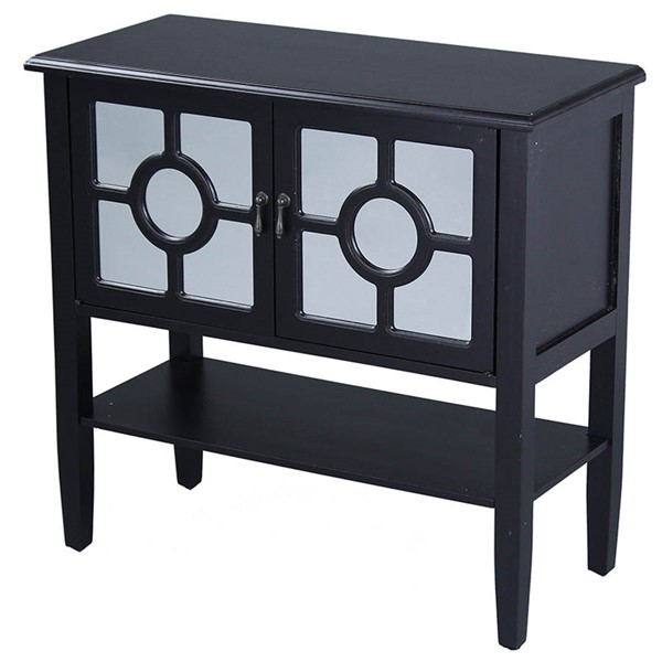 HomeRoots Hampton Black Lattice Mirror Console Cabinet OCN-291885