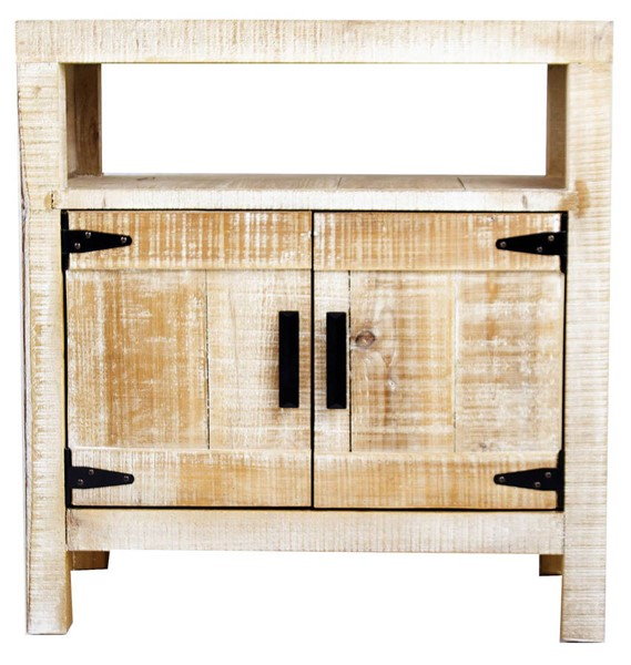 HomeRoots Dillon Distressed Wood 2 Doors Accent Cabinet OCN-292009