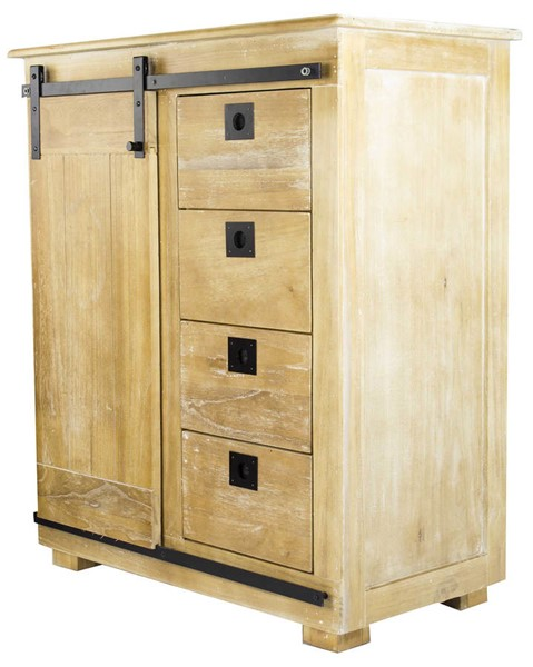 HomeRoots Edison Rustic Black 4 Drawers Accent Cabinet OCN-292012