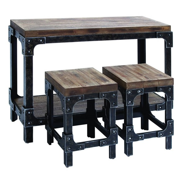 Homeroots Brown Wood Black 3pc Table and Stool Set OCN-294306