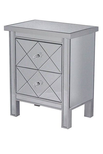 HomeRoots Silver 2 Drawers Tall Accent Cabinet OCN-294634