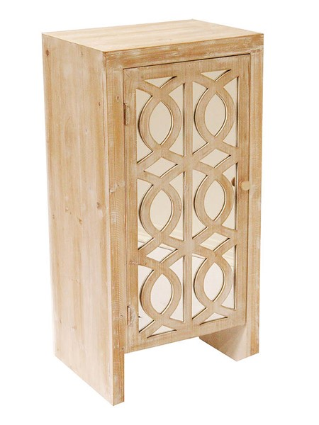 HomeRoots White Wash Carved Trellis Mirror Accent Cabinet OCN-294642