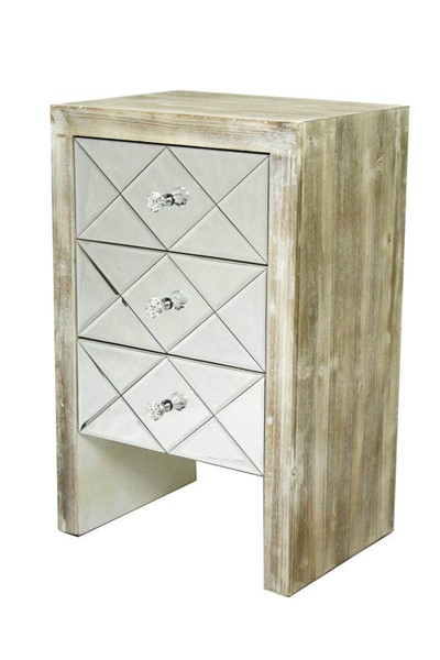 HomeRoots White Wash 3 Drawers Mirror Accent Cabinet OCN-294646