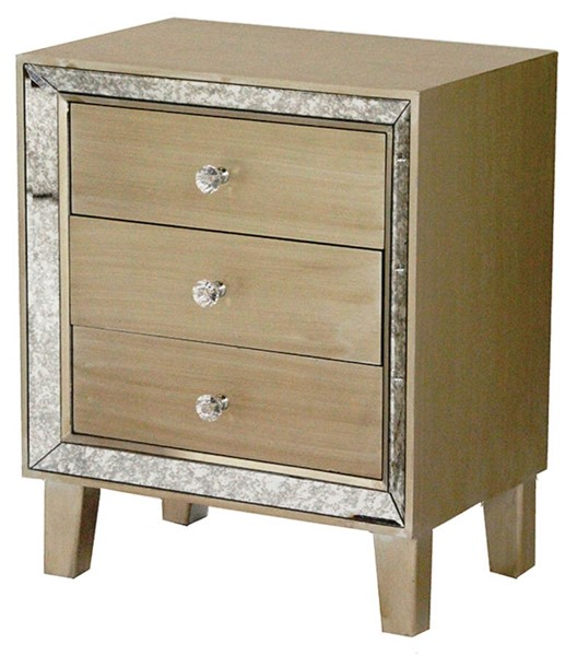 HomeRoots Bon Champagne 3 Drawers Accent Cabinet OCN-294650