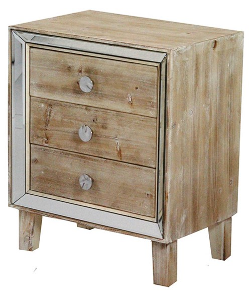 HomeRoots Bon White Wash Mirror 3 Drawers Accent Cabinet OCN-294652